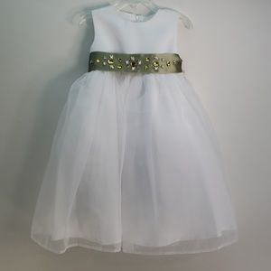 US ANGELS FLOWER GIRL DRESS SATIN ORGANZA 4T